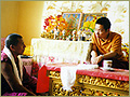 Rinpoche briefing teacher in Sankhu Monastery